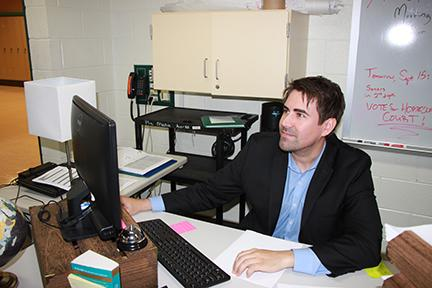 Adam Depew, new English teacher, becomes accustomed to Plainfield Central. He is one of 17 new staff members. Other new staff not interviewed include: SPED teachers Amber Briddick, Emily Hyland, and Joseph Tuttle, and CTE Jeff Heimer, world language teacher Kathryn Roche, social worker David Sidarous, and copy clerk Valerie Zawitowski.