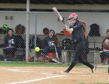 Junior Maria gets a base hit in their 6-2 win over Plainfield South on May 5th.