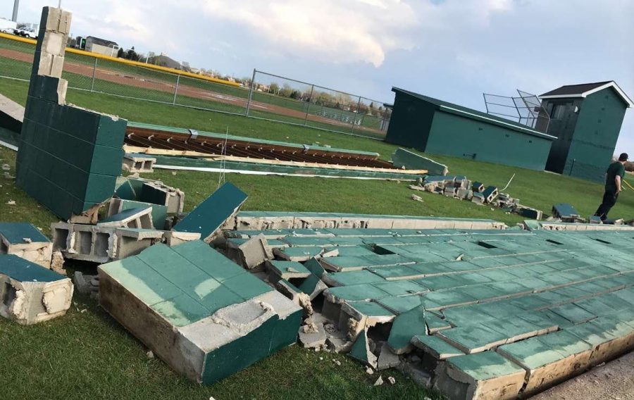 The storm blew over the softball dugout last night.