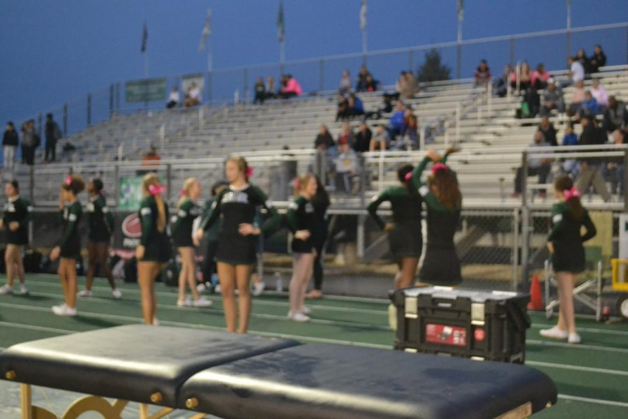 Cheer team at Homecoming game against Joliet West