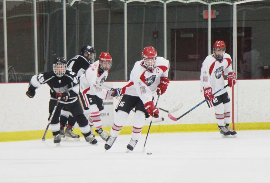 The+Plainfield+Hockey+team+takes+control+of+the+puck+in+their+game+against+Wheaton+West.+They+lost+0-7.