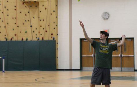 The tennis team has begun practicing indoors until the weather warms up.