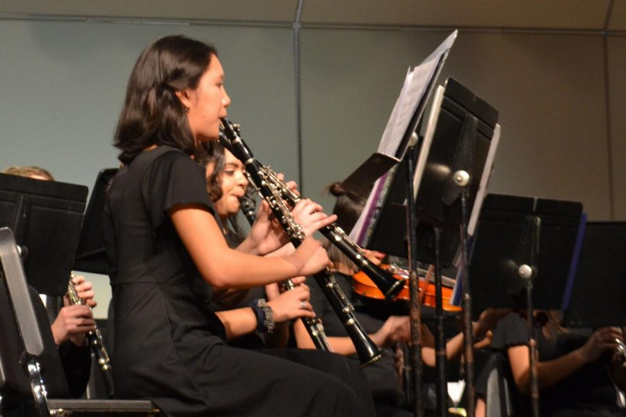 Band member Robyn Aparri, junior, plays clarinet at the Plainfield Invitational Concert Band Festival on March 2.