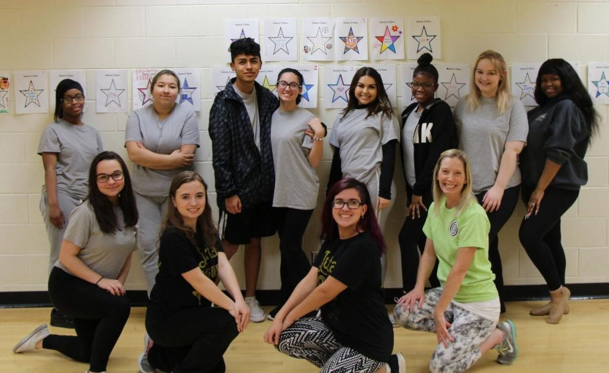 The seventh period dance class is one of several groups that will perform in the dance show on April 26.  Photo by Abby Blazevic