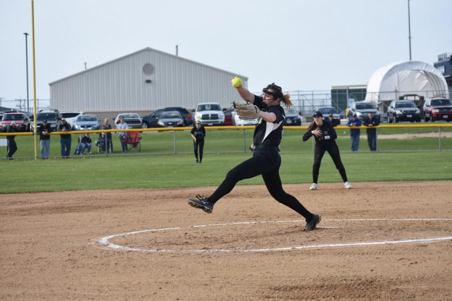 Junior Lindsey Bouska pitches to the  batter from Plainfield South. The Wildcats lost 10-1.