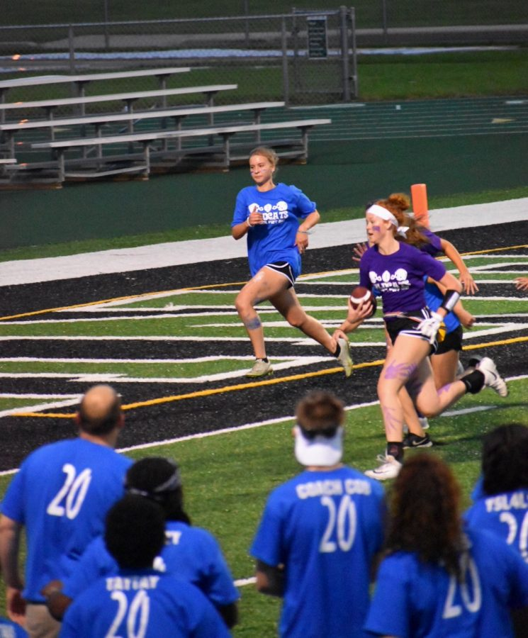 Melissa Schmidt, junior, races down the line, scoring a touchdown for the juniors to take the lead.
