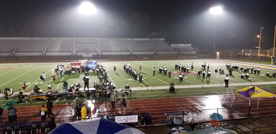 The+Wildcat+Marching+Band+prepares+to+perform+in+competition+at+Western+Illinois+University+on+Oct+26.