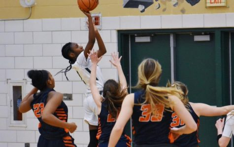 Tykara Harrison, sophomore, puts up a shot in the 56-67 loss  against Naperville North on Jan 21.