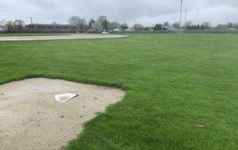The baseball fields sit empty as all spring sports have been cancelled.