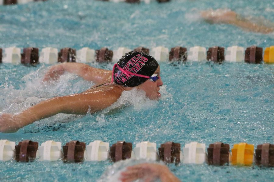 Zoi Jonihakis, junior, swims her 100 butterfly event.