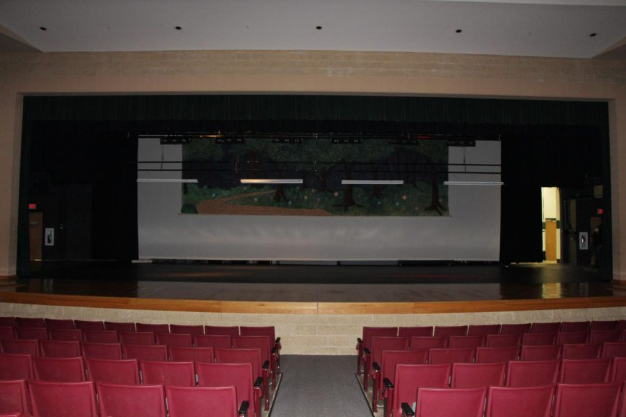 The auditorium sits empty while the cast rehearses via Zoom.