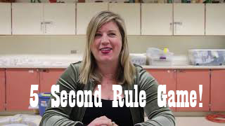 Julie Gainer, art teacher, plays the 5 Second Rule Game.