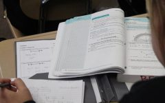 A student works in her Springboard book studying for an upcoming test.