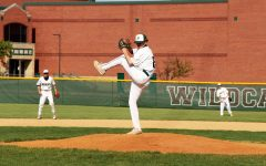 Brandon Leidolph, senior, winds up for the pitch.