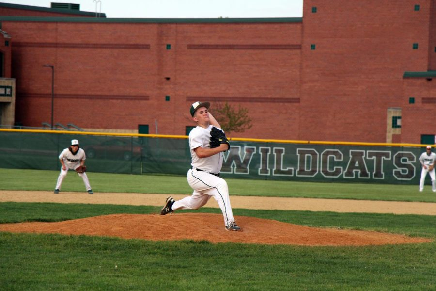 Josh Stratton, junior, throws his final pitch in the sixth inning.