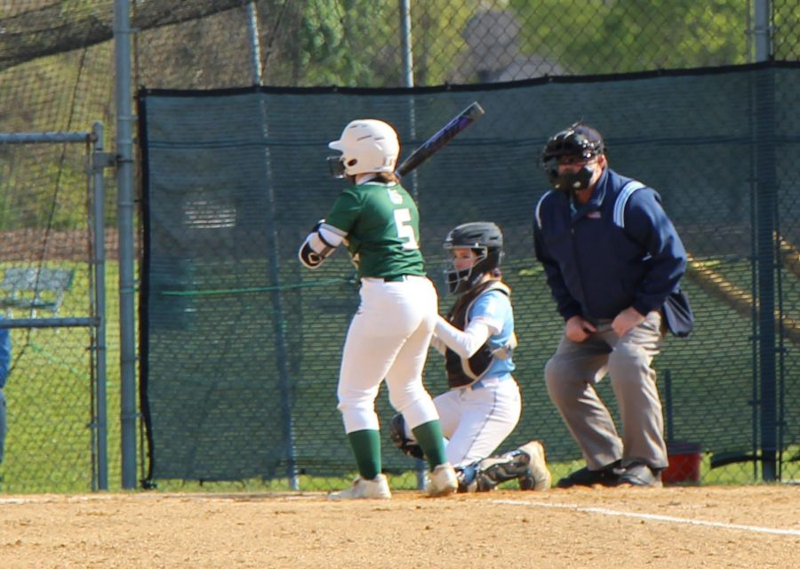Emma+Polanski+steps+up+to+the+plate+in+the+Wildcats+5-3+loss+to+Joliet+Catholic+Academy.