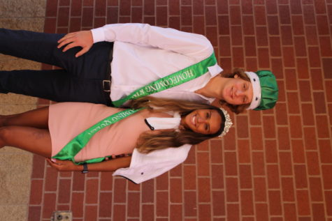 Homecoming King and Queen, Luke Cervelli and Tessani Foster celebrate their victory with a photo.
